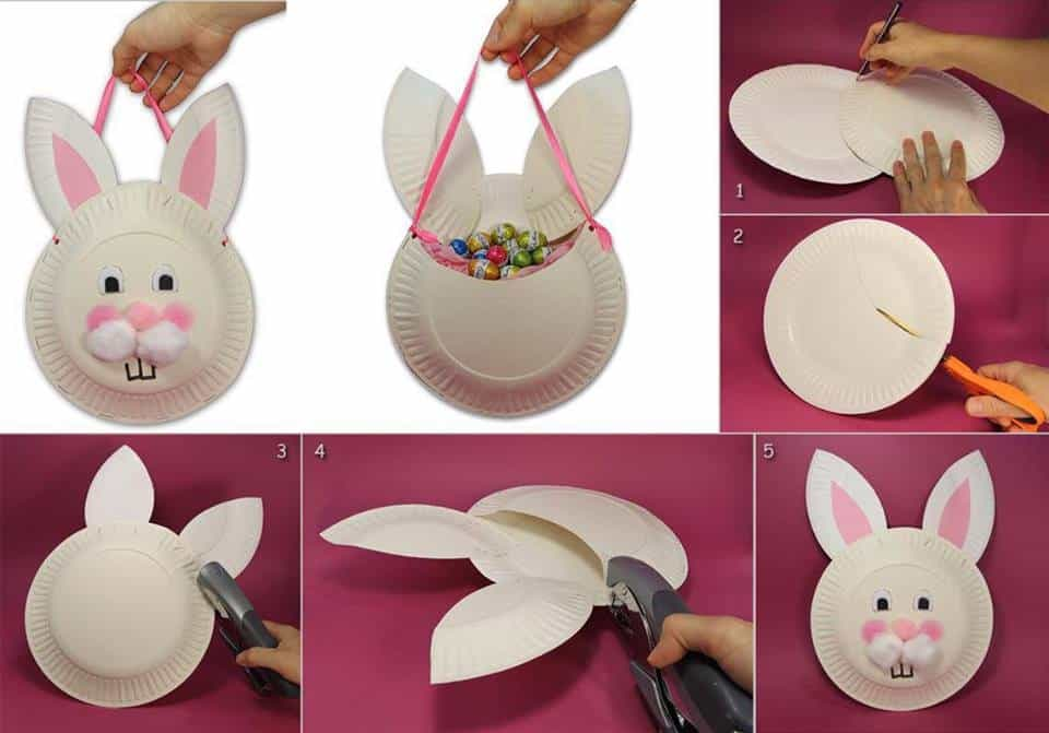Paper plate bunny easter basket