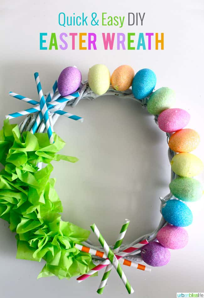 Paper straw easter wreath