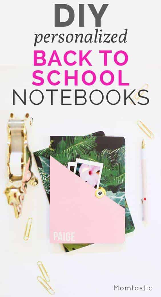 Personalized back to school notebooks