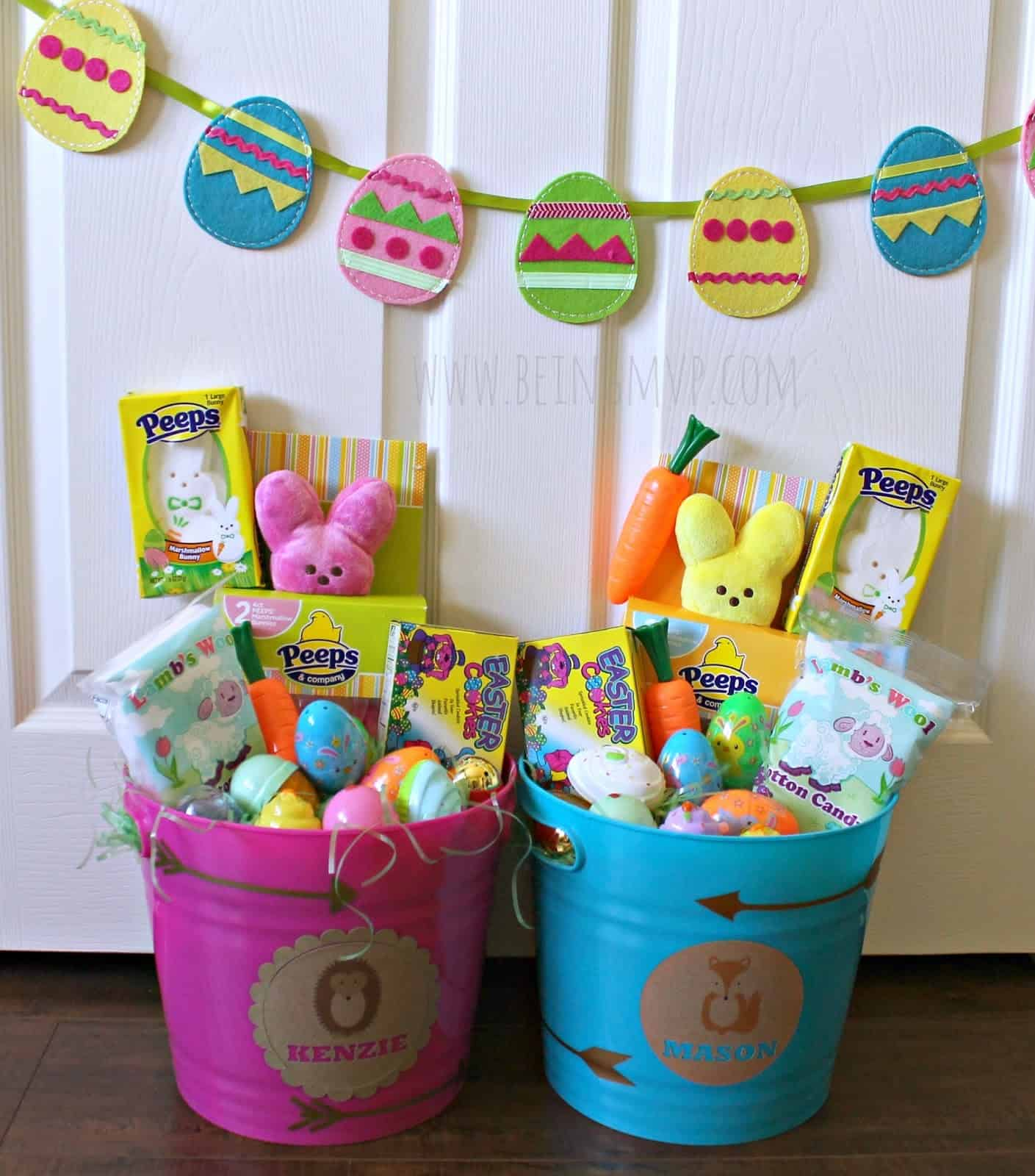 Personalized bucket easter baskets