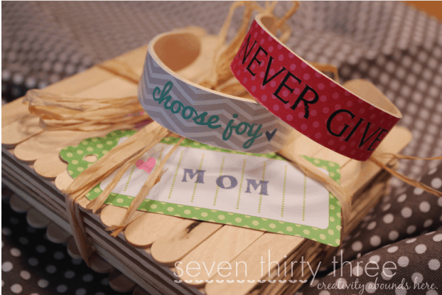Popsicle stick bracelet and gift box
