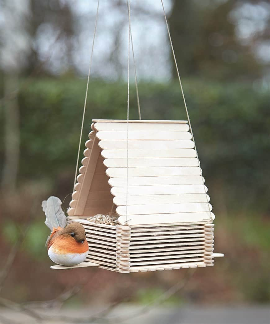 Popsicle stick hut bird feeder