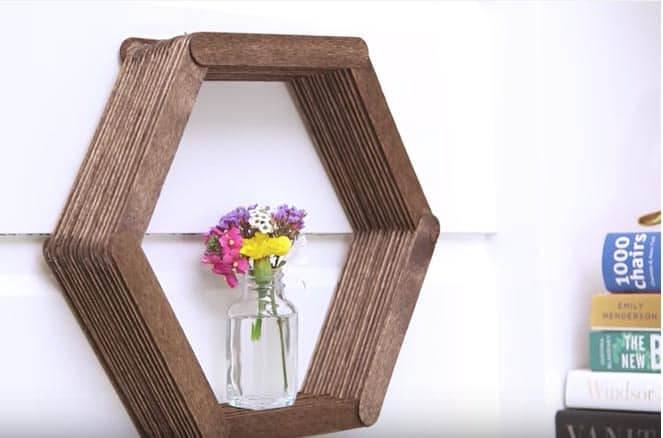 Popsicle stick shelf