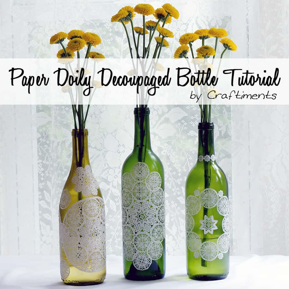 Pretty paper lace doily wine bottles