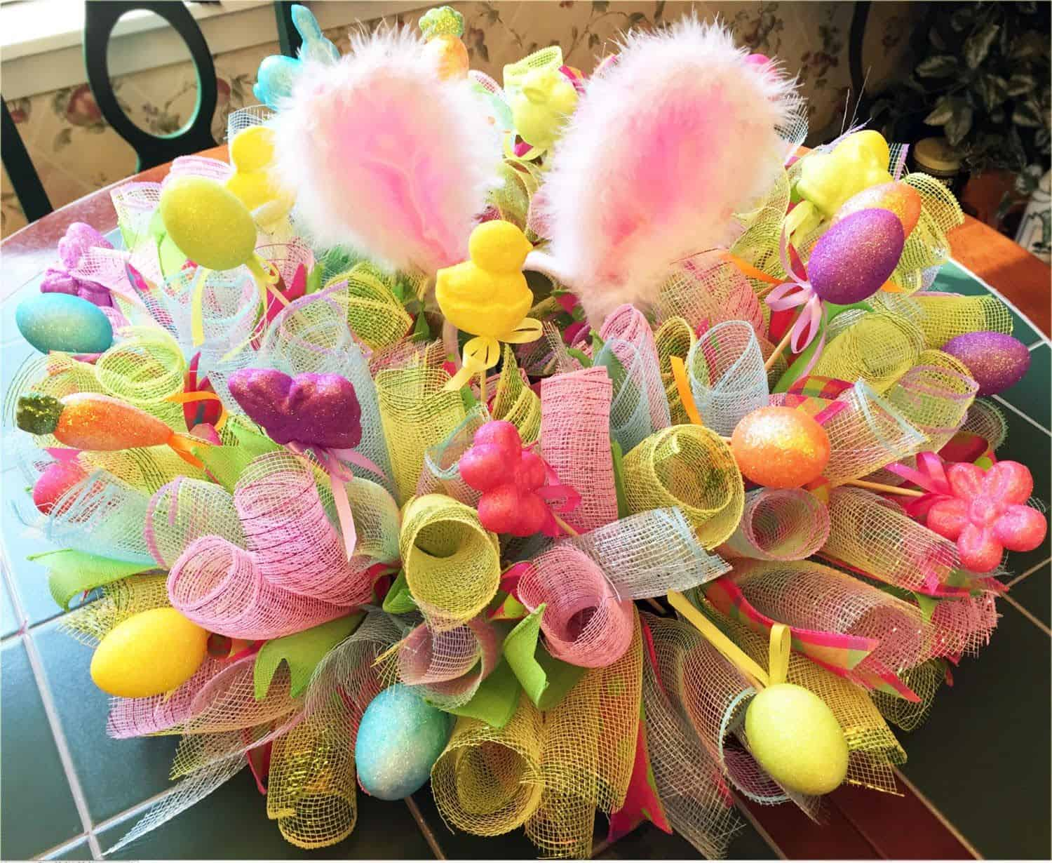 Ribbon and bunny ear centrepiece