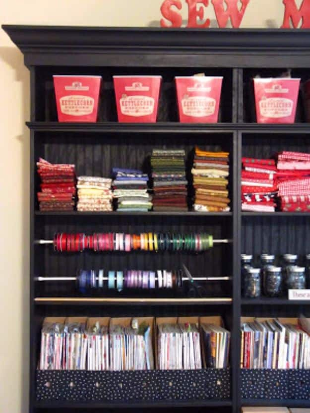 Ribbon organizer in the craft room