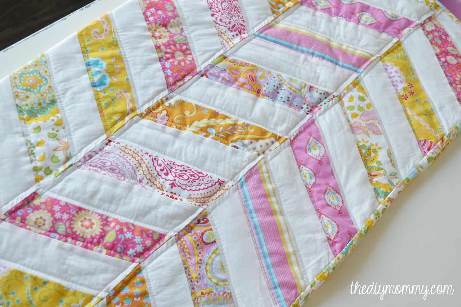Simple herringbone baby quilt