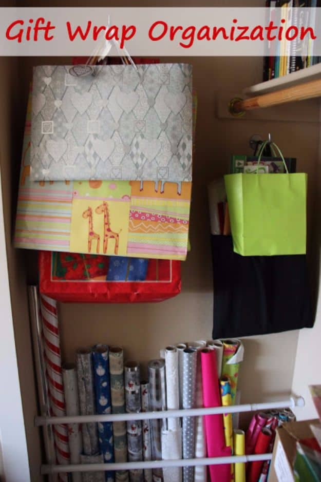 Space efficient gift wrap storage
