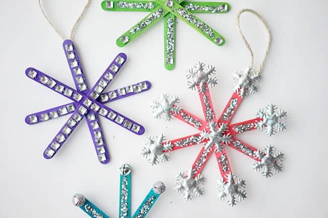 Sparkling popsicle stick snowflakes