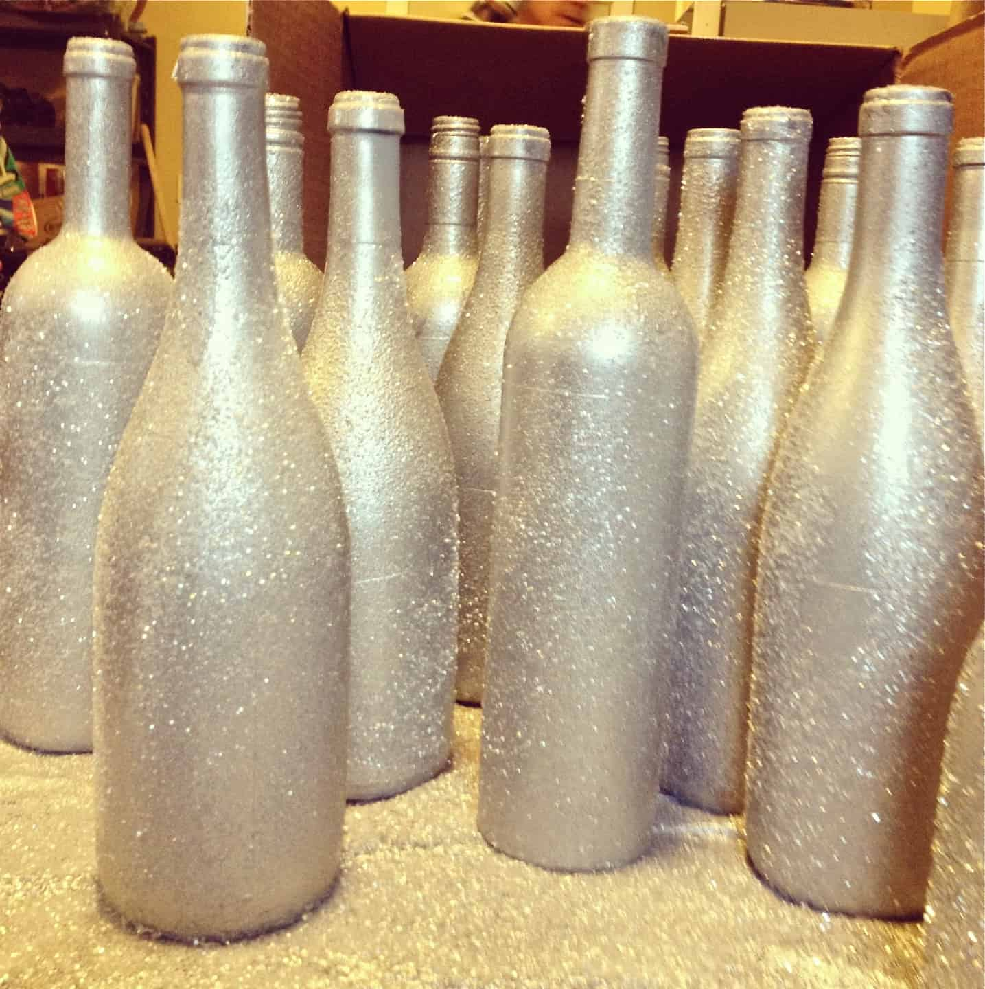 Sparkly wine bottle vases