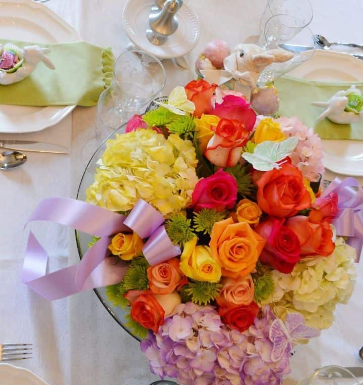 Stunning pastel ribbon and floral centrepiece