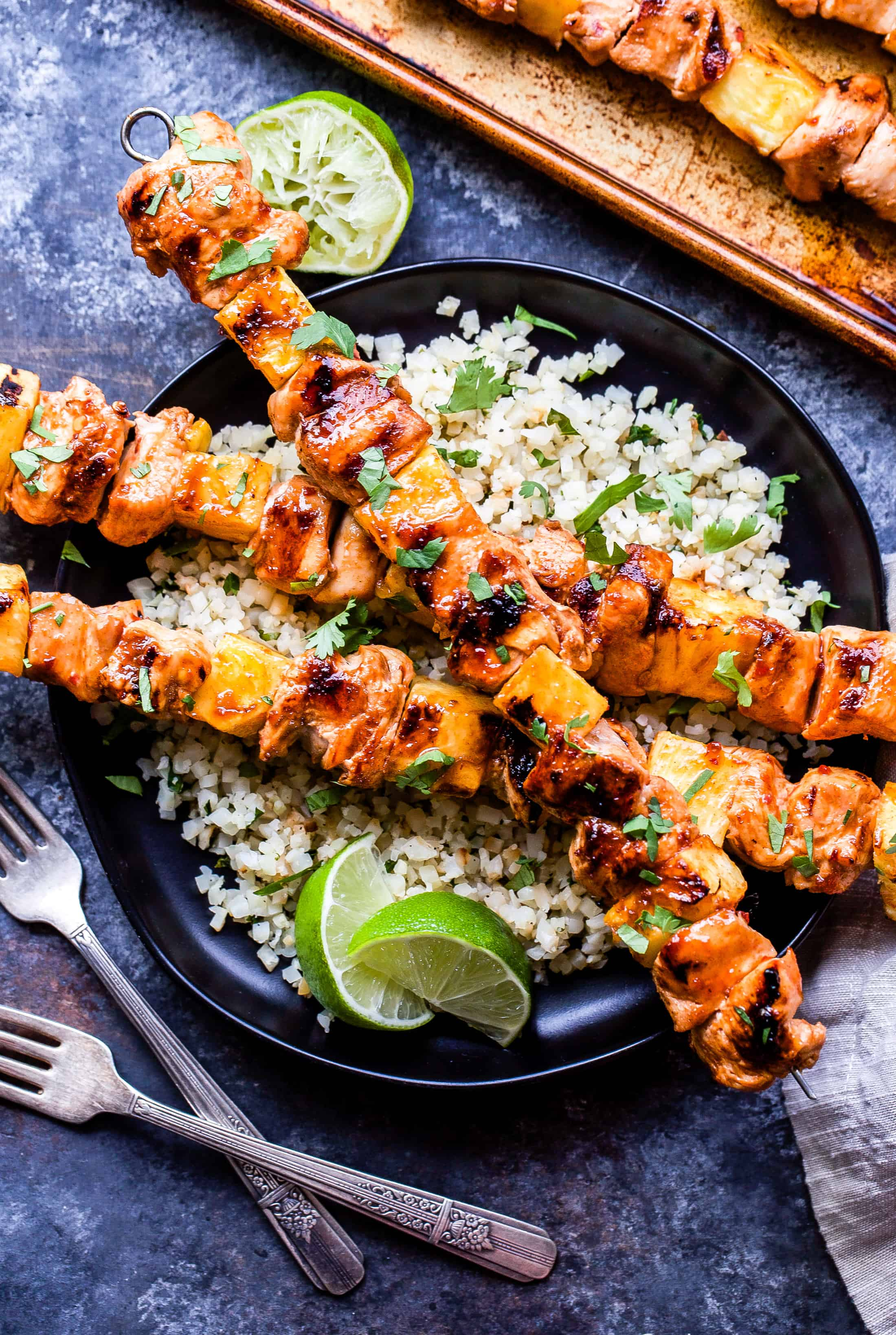Sweet and spicy grilled chicken pineapple skewers
