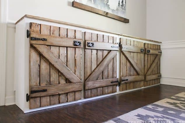 Upcycled barn wood cabinets
