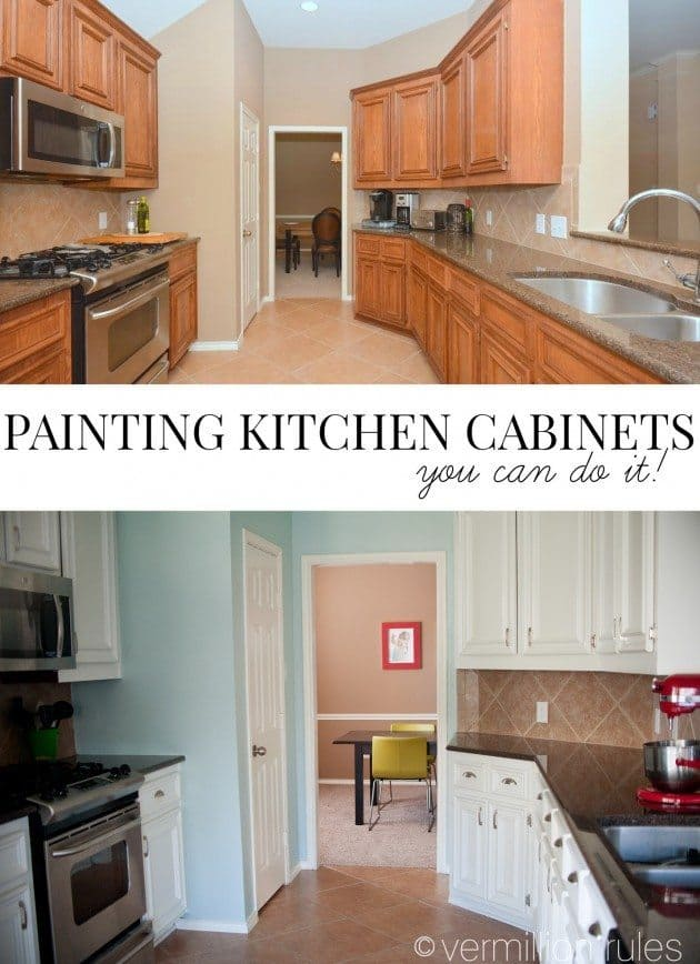 Wood painted kitchen cabinets