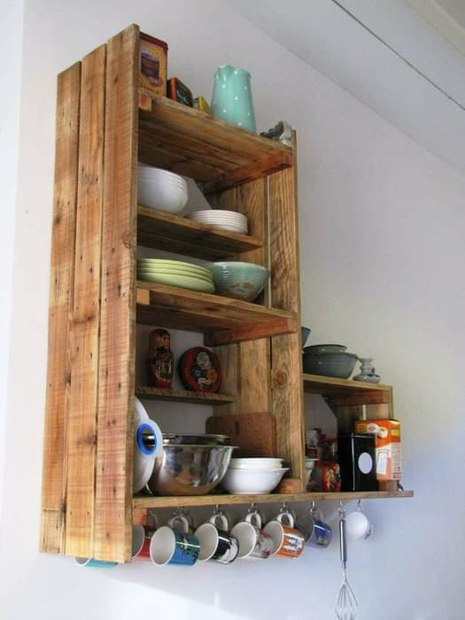 Wood pallet to extra dish cabinet