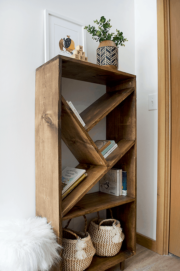 Bookshelf with angled shelves