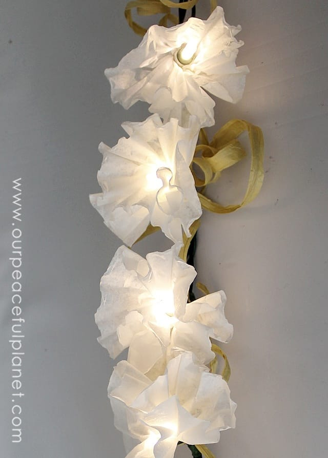 Diy coffee filter string lights