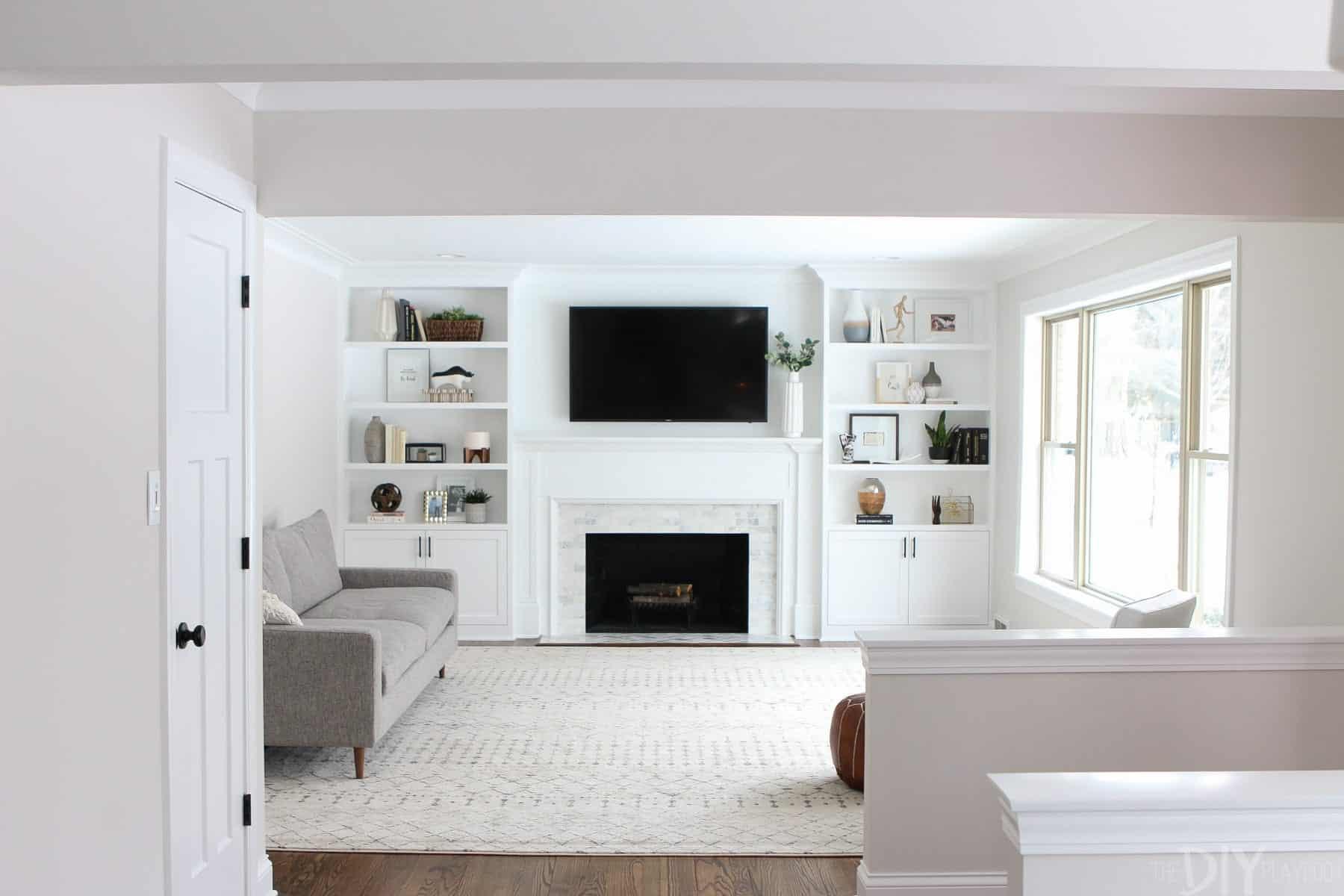 Diy white built in shelves