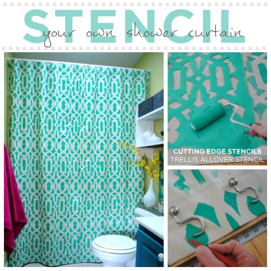 All over stencilled repeating pattern curtain