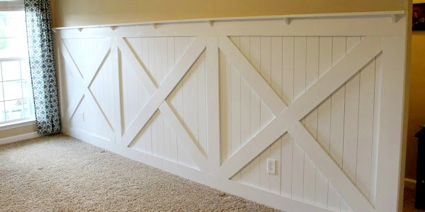 Barn door inspired wainscoting