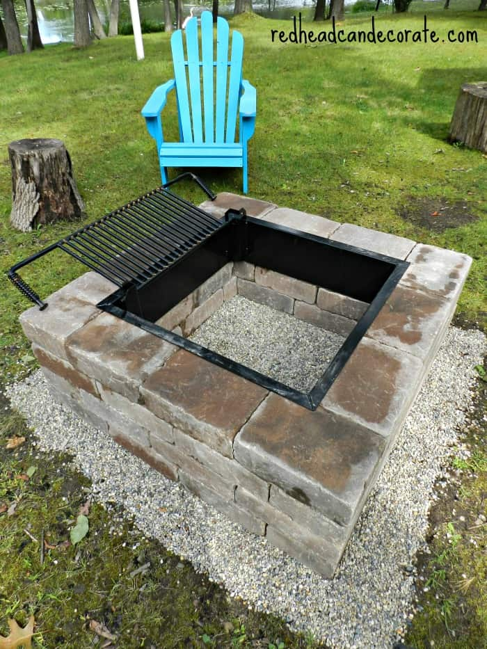 Beautiful diy fire pit w grill insert1