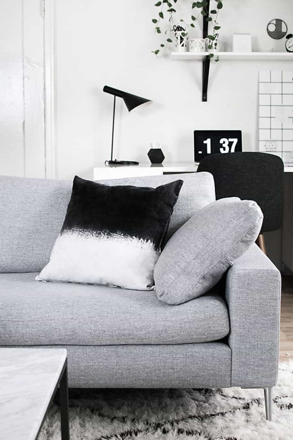 Black dip dyed pillow diy