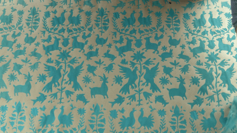 Blue stencilled gift wrap from brown paper