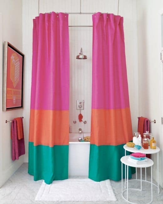 Bright colour blocked shower curtain