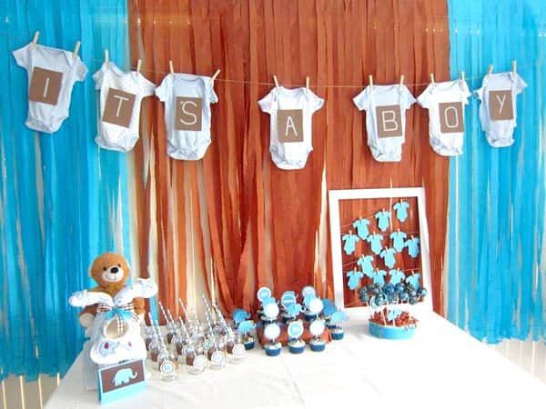 Brown and blue baby showers for boys