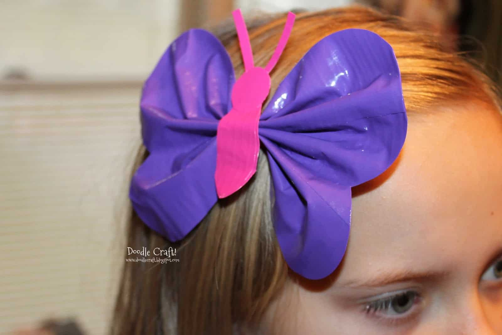 Butterfly duct tape hair bow