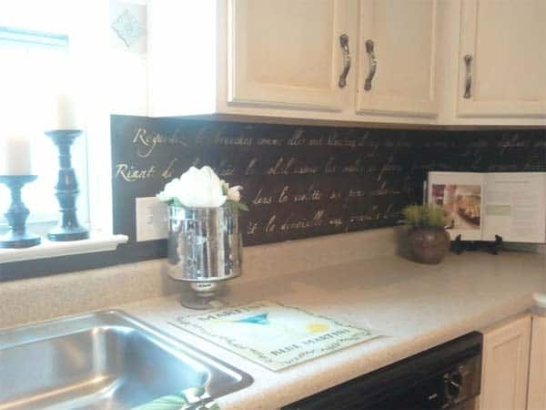 Chalkboard paint backsplash