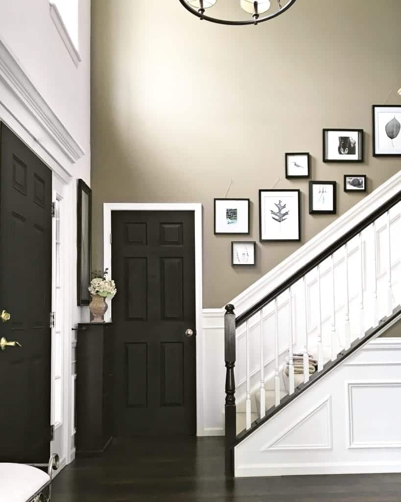 Classic wainscoting on a staircase