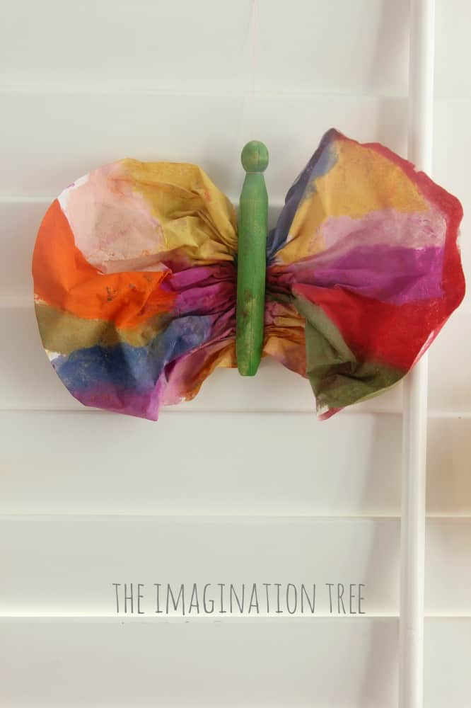 Clothespin coffee filter butterfly