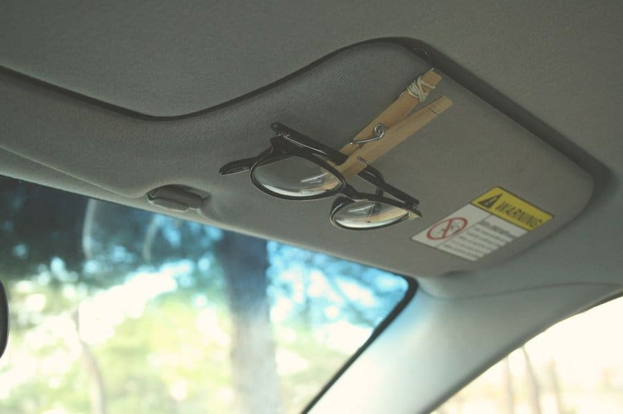 Clothespin glasses holder for the car