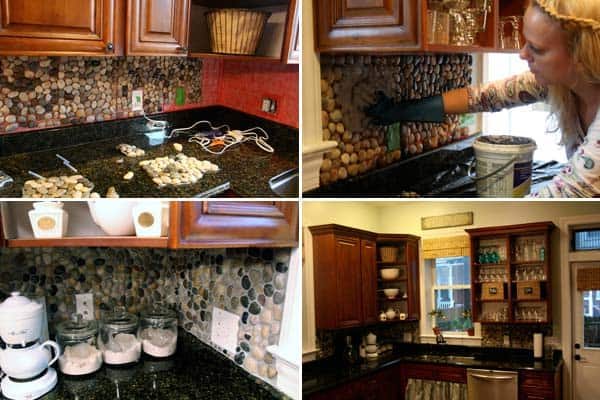 Cobblestone backsplash