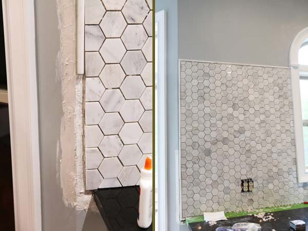 Concrete honeycomb backsplash