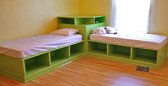 Corner twin beds with storage