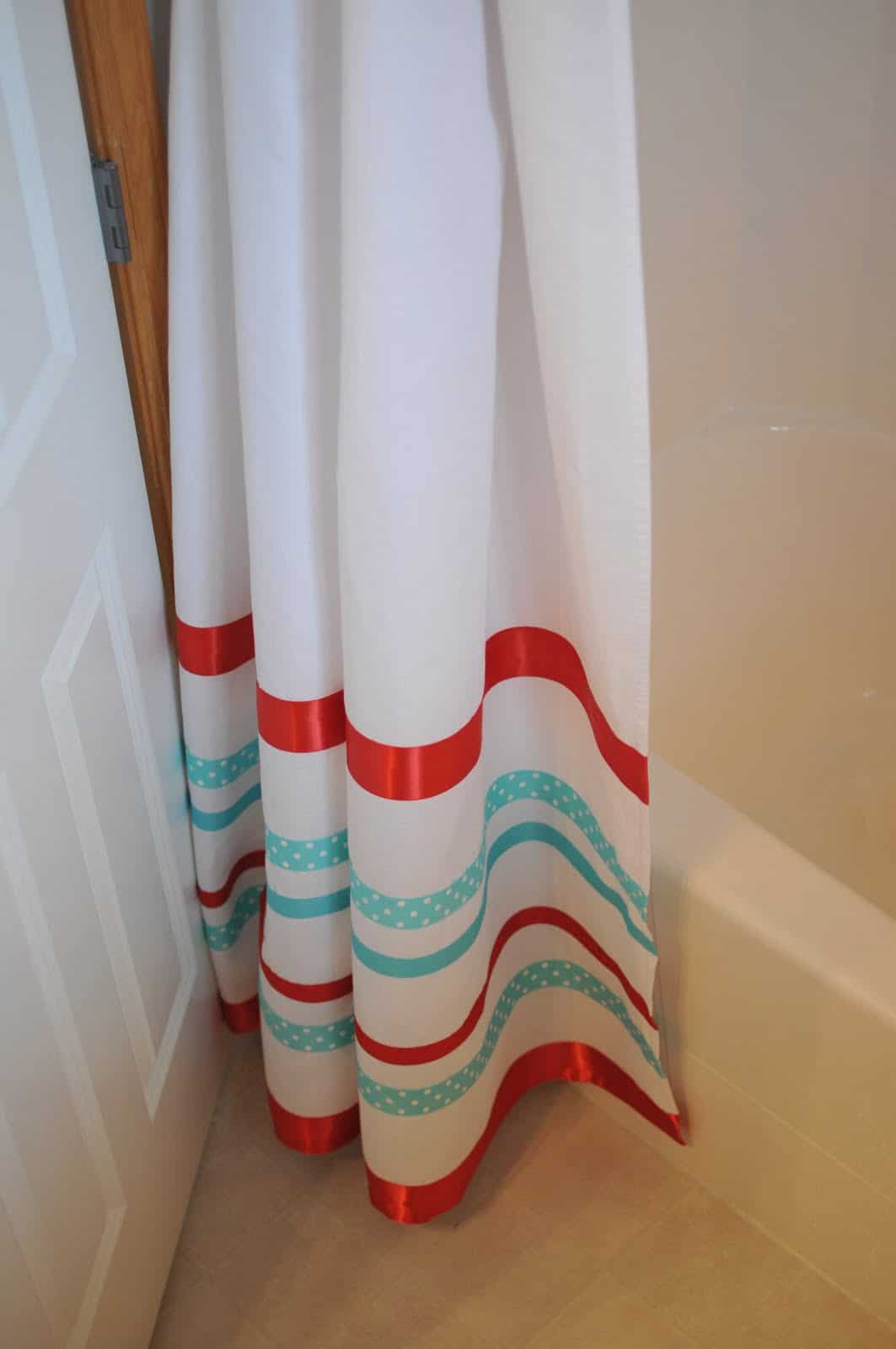 Custom ribbon shower curtain