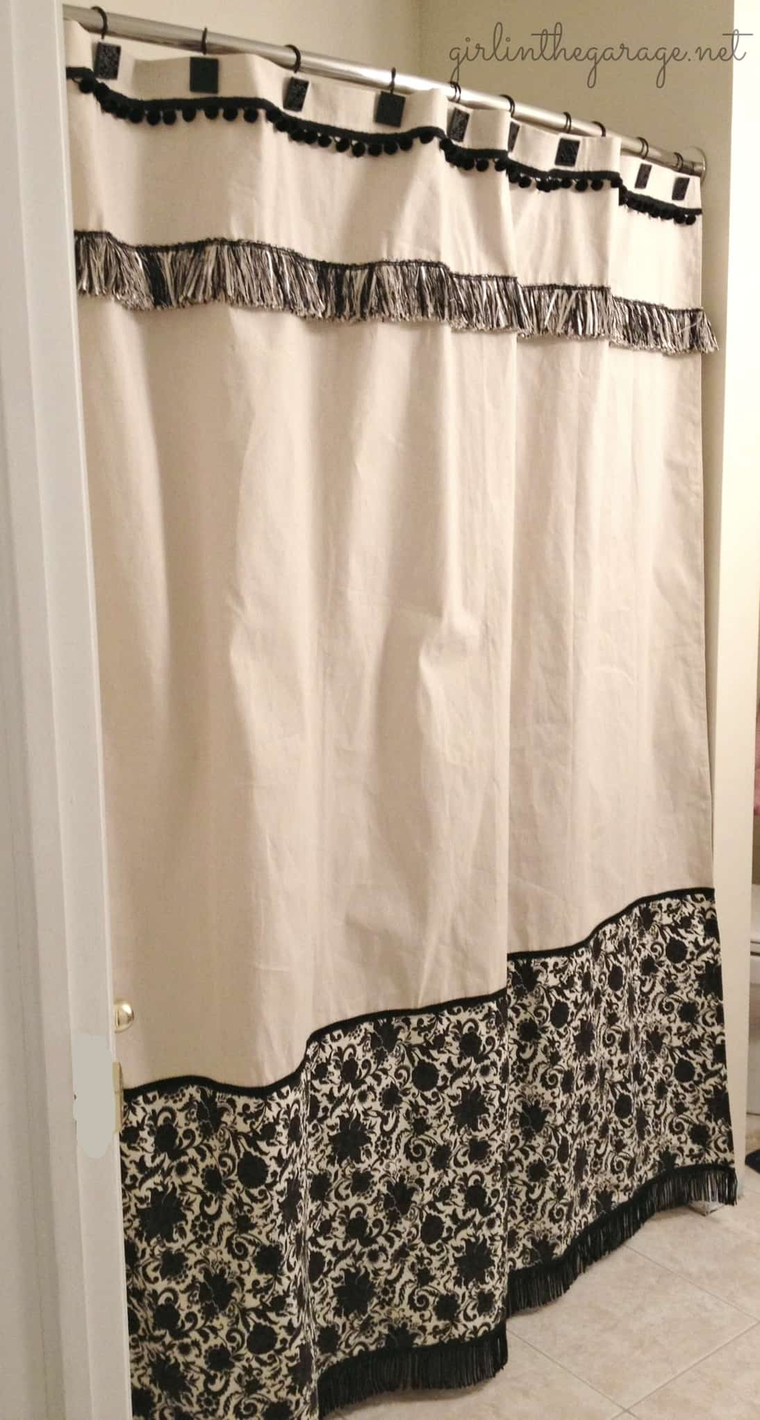 Custom trimmed shower curtain