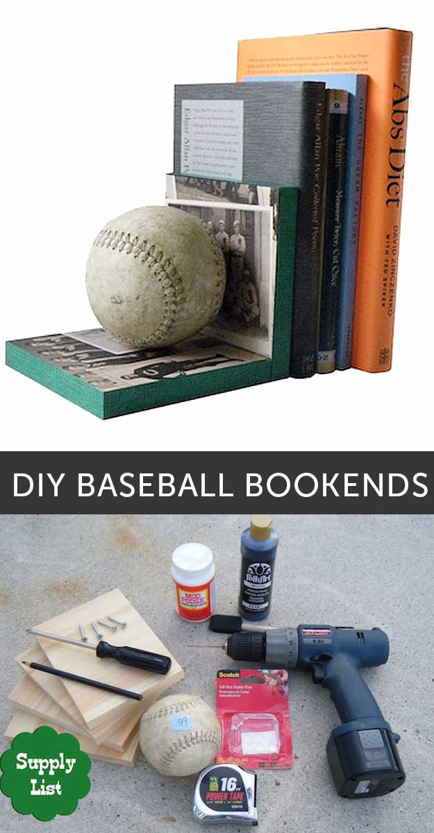 Diy baseball bookends