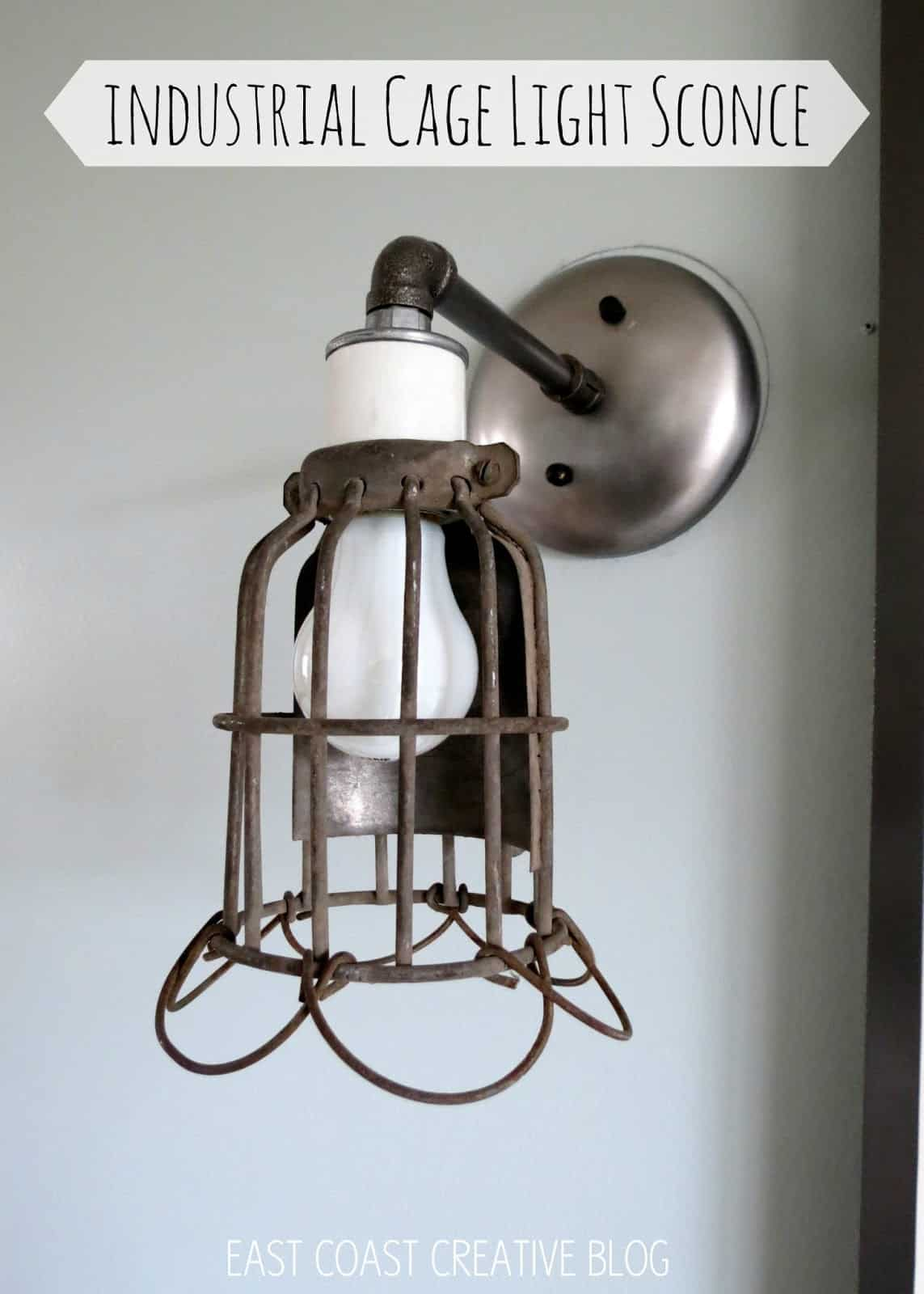 Diy industrial cage light sconces