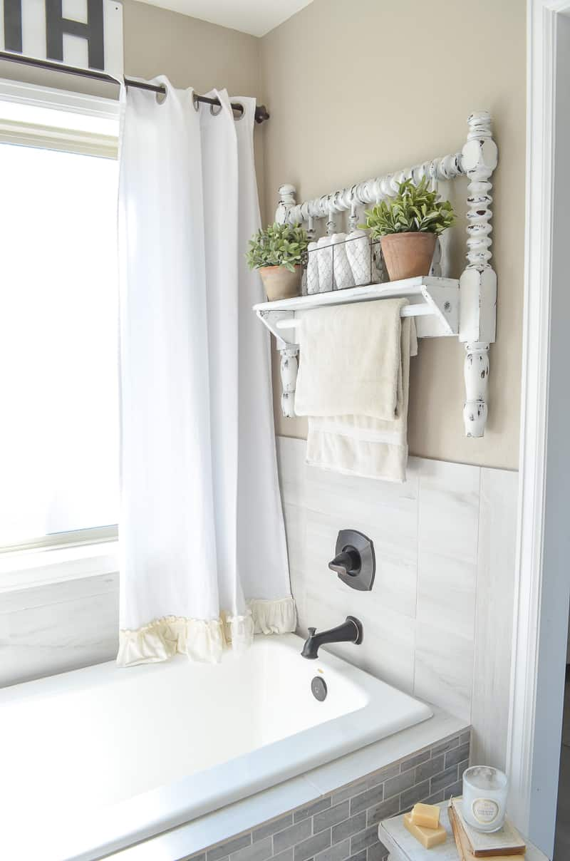 Diy towel bar from bed frame