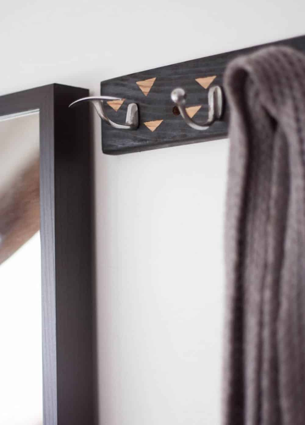 Diy upcycled coat rack