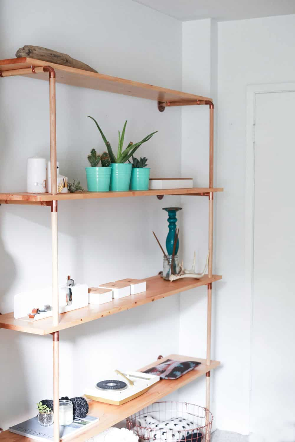 Diy cooper turn and wood dowel shelf