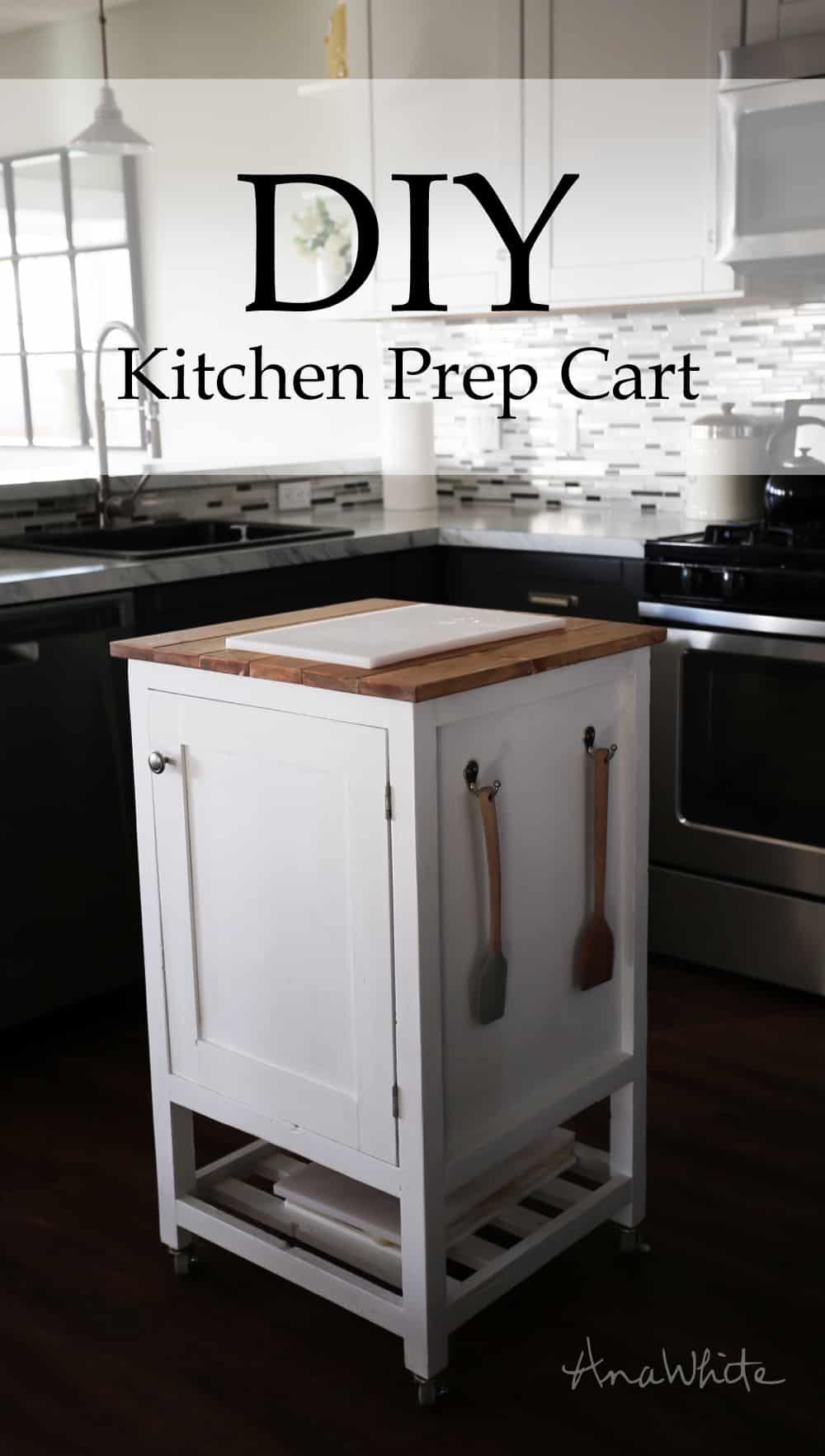 Diy mini kitchen prep cart