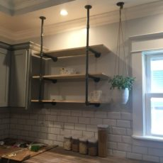 Diy open pipe shelving