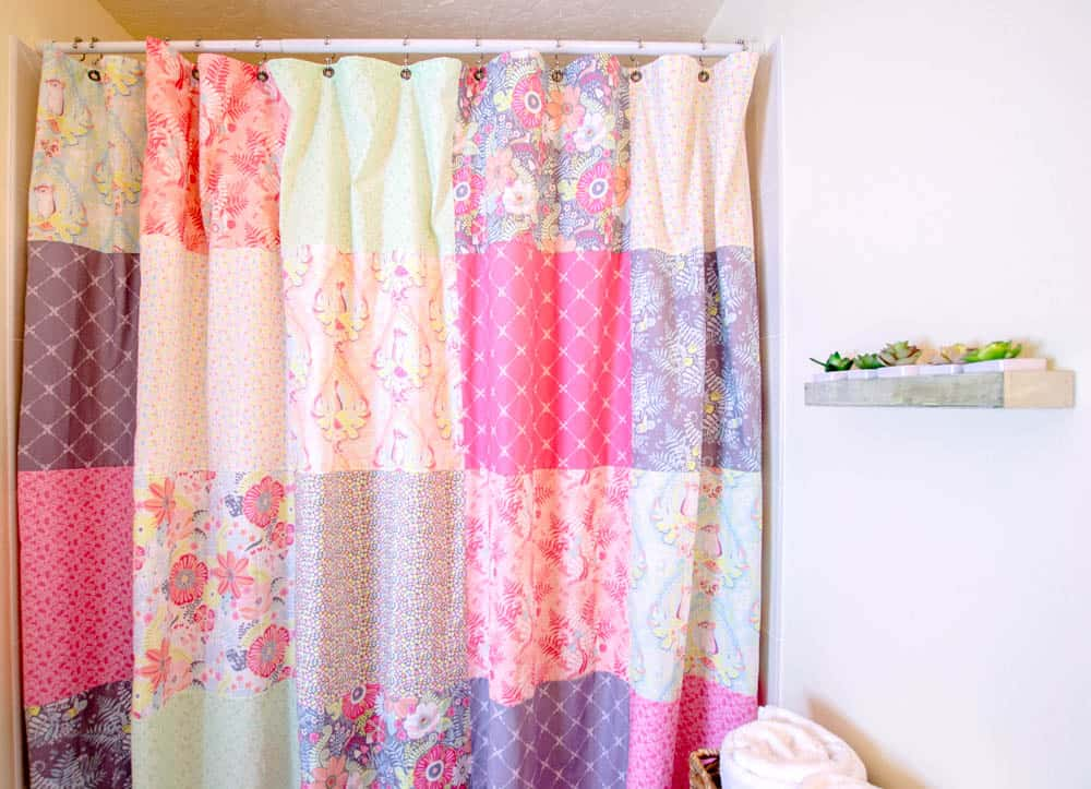 Diy patchwork shower curtain