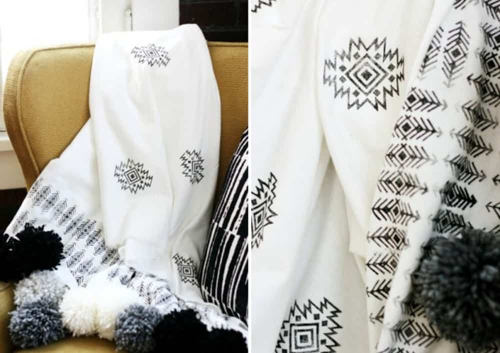 Diy stamped pom pom throw