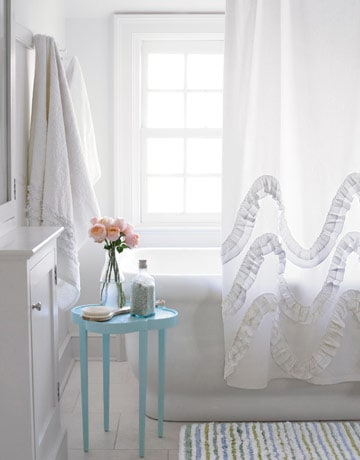 Diy waves and ruffles shower curtain