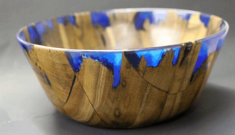 Diy wood and blue resin trinket bowl